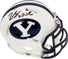 Zach Wilson Autographed BYU Cougars White Speed Mini Helmet Beckett BAS Stock #191114