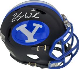 Zach Wilson Autographed BYU Cougars Black Speed Mini Helmet Beckett BAS Stock #191115