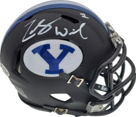 Zach Wilson Autographed BYU Cougars Matte Black Speed Mini Helmet Beckett BAS Stock #191116