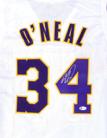 Los Angeles Lakers Shaquille O'Neal Autographed White Jersey Signed on #4 Beckett BAS Stock #191134