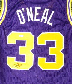 LSU Tigers Shaquille O'Neal Autographed Purple Jersey Beckett BAS Stock #191135