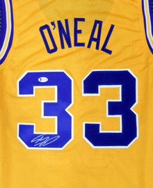 LSU Tigers Shaquille O'Neal Autographed Gold Jersey Beckett BAS Stock #191136