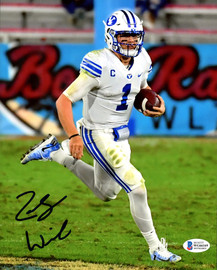Zack Wilson Autographed 8x10 Photo BYU Cougars Beckett BAS Stock #191143
