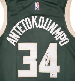 Milwaukee Bucks Giannis Antetokounmpo Autographed Green Nike Jersey Size XXL Beckett BAS Stock #191165