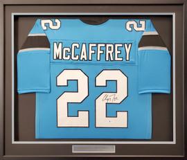 Carolina Panthers Christian McCaffrey Autographed Framed Blue Jersey Beckett BAS Stock #191181