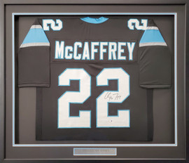 Carolina Panthers Christian McCaffrey Autographed Framed Black Jersey Beckett BAS Stock #191183