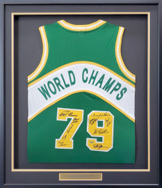 Seattle Supersonics 1978-79 NBA Champions Autographed Framed Green Jersey With 9 Signatures Including Fred Brown & Lenny Wilkens MCS Holo Stock #191191