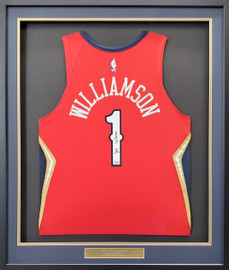 New Orleans Pelicans Zion Williamson Autographed Framed Red Nike Jersey Fanatics Stock #191194