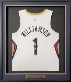 New Orleans Pelicans Zion Williamson Autographed Framed White Nike Swingman Jersey Fanatics Stock #191195