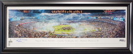 Russell Wilson Autographed Framed 13x40 Panoramic Photo Seattle Seahawks Super Bowl XLVIII RW Holo Stock #191200