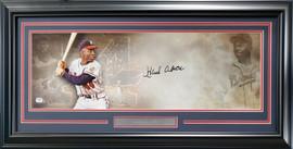 Hank Aaron Autographed Framed 10x30 Panoramic Photo Milwaukee Braves Fanatics Stock #191201