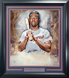 Hank Aaron Autographed Framed 20x24 Photo Atlanta Braves Fanatics Stock #191203