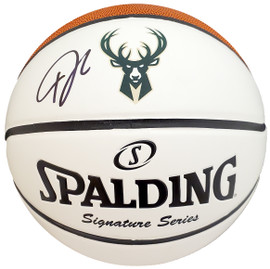 Giannis Antetokounmpo Autographed Official Spalding Milwaukee Bucks White Logo Basketball Beckett BAS Stock #191207