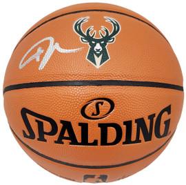 Giannis Antetokounmpo Autographed Official Spalding I/O Milwaukee Bucks Logo Basketball Beckett BAS Stock #191208