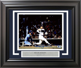 Reggie Jackson Autographed Framed 8x10 Photo New York Yankees 1981 ALDS Home Run Beckett BAS Stock #191239