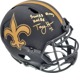 """Taysom Hill Autographed New Orleans Saints Eclipse Black Full Size Authentic Speed Helmet """"Swiss Army Knife"""" Beckett BAS Stock #191556"""