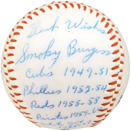 """Smoky Burgess Autographed Official Regent Baseball Pittsburgh Pirates Teams & Years """"Best Wishes"""" Beckett BAS #X12515"""