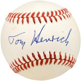 Tommy Henrich Autographed Official AL Baseball New York Yankees Beckett BAS #X12605