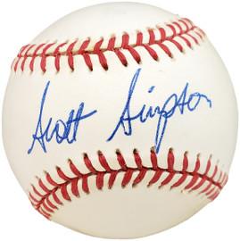Scott Simpson Autographed Official AL Baseball Beckett BAS #X12655