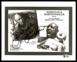 """Marvelous"" Marvin Hagler Autographed 8x10 Photo ""Best Wishes"" Beckett BAS #X12958"