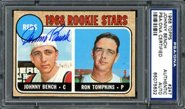 Johnny Bench Autographed 1968 Topps Rookie Card #247 PSA/DNA #65075632