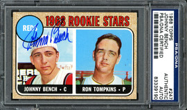 Johnny Bench Autographed 1968 Topps Rookie Card #247 PSA/DNA #83339190