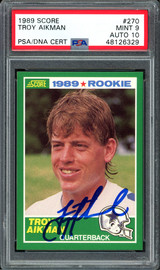 Troy Aikman Autographed 1989 Score Rookie Card #270 Dallas Cowboys Card Grade 9 Auto Grade 10 PSA/DNA #48126329