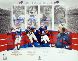Buffalo Bills Team Greats Autographed 16x20 Photo With 4 Signatures including Jim Kelly, Thurman Thomas, Andre Reed & Marv Levy Beckett BAS Stock #191970