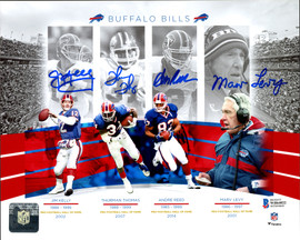 Buffalo Bills Team Greats Autographed 8x10 Photo With 4 Signatures including Jim Kelly, Thurman Thomas, Andre Reed & Marv Levy Beckett BAS Stock #191971
