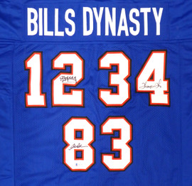 Buffalo Bills Team Greats Autographed Blue Jersey With 3 Signatures Including Jim Kelley, Thurman Thomas & Andre Reed Beckett BAS Stock #191972