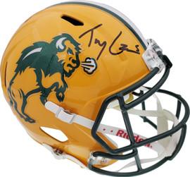 Trey Lance Autographed North Dakota State Bison Yellow Full Size Replica Speed Helmet Beckett BAS Stock #191978
