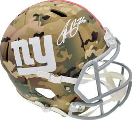 Saquon Barkley Autographed New York Giants Camo Full Size Replica Speed Helmet Beckett BAS Stock #192175