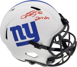 "Saquon Barkley Autographed New York Giants Lunar Eclipse White Full Size Replica Speed Helmet ""2018 ROY"" Beckett BAS Stock #192178"