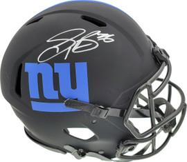 Saquon Barkley Autographed New York Giants Eclipse Black Full Size Authentic Speed Helmet Beckett BAS Stock #192185