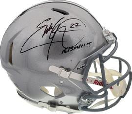 Eddie George Autographed Ohio State Buckeyes Silver Full Size Authentic Speed Helmet Beckett BAS Stock #192188