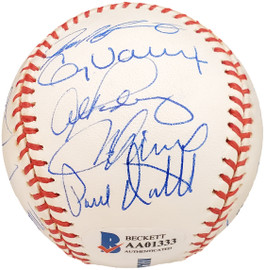 2001 American League All Star Team Autographed Official MLB Baseball With 25 Signatures Including Ichiro Rookie Beckett BAS #AA01333