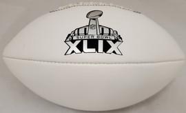 Unsigned White Wilson Super Bowl XLIX Logo Football SKU #192519