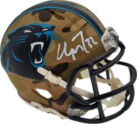 Christian McCaffrey Autographed Carolina Panthers Camo Speed Mini Helmet Beckett BAS Stock #192523