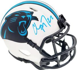 Christian McCaffrey Autographed Carolina Panthers Lunar Eclipse White Speed Mini Helmet Beckett BAS Stock #192522