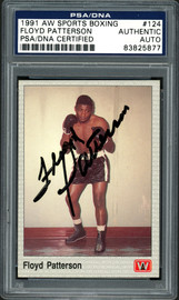 Floyd Patterson Autographed 1991 AW Sports Boxing Card Card #124 PSA/DNA Stock #192601