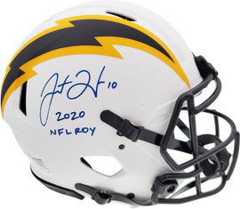 """Justin Herbert Autographed Los Angeles Chargers Lunar Eclipse White Full Size Authentic Speed Helmet """"2020 NFL ROY"""" Beckett BAS QR Stock #192610"""
