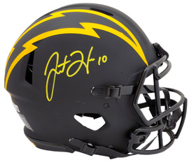 Justin Herbert Autographed San Diego Chargers Eclipse Black Full Size Authentic Speed Helmet Beckett BAS Stock #192614