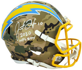 """Justin Herbert Autographed San Diego Chargers Camo Full Size Replica Speed Helmet """"2020 NFL ROY"""" Beckett BAS Stock #192615"""