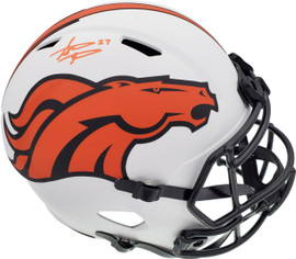 Steve Atwater Autographed Denver Broncos Lunar Eclipse White Full Size Replica Speed Helmet Beckett BAS QR Stock #192617