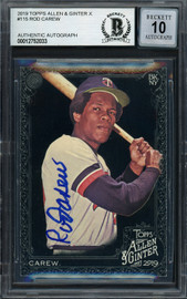 Rod Carew Autographed 2019 Topps Allen & Ginter Black Card #115 Minnesota Twins Auto Grade Gem Mint 10 Beckett BAS #12752033