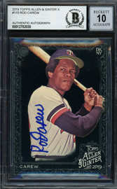 Rod Carew Autographed 2019 Topps Allen & Ginter Black Card #115 Minnesota Twins Auto Grade Gem Mint 10 Beckett BAS #12752035