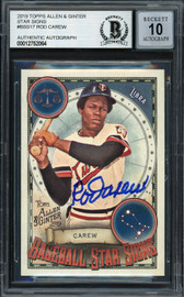 Rod Carew Autographed 2019 Topps Allen & Ginter Baseball Star Signs Card #BSS-17 Minnesota Twins Auto Grade Gem Mint 10 Beckett BAS Stock #192833
