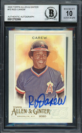Rod Carew Autographed 2020 Topps Allen & Ginter Card #10 California Angels Auto Grade Gem Mint 10 Beckett BAS Stock #192837