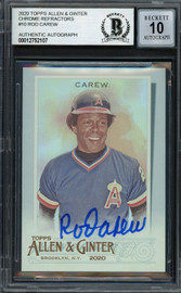 Rod Carew Autographed 2020 Topps Allen & Ginter Foil Card #10 California Angels Auto Grade Gem Mint 10 Beckett BAS #12752107