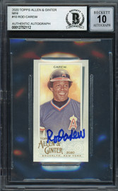 Rod Carew Autographed 2020 Topps Allen & Ginter Mini Card #10 California Angels Auto Grade Gem Mint 10 Beckett BAS #12752112